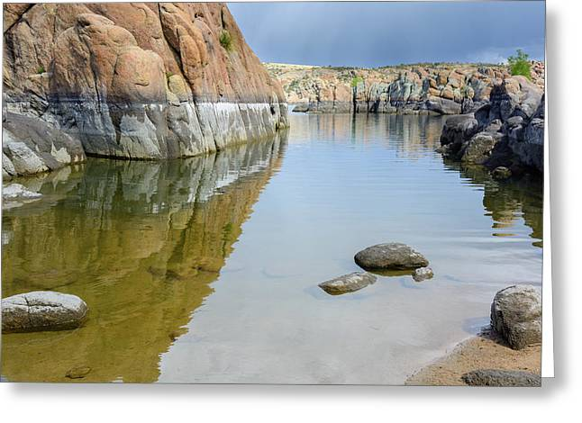 Lake Reflections At Granite Dells Greeting Card by Daniel Dean