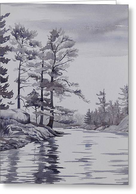 Lake Reflections Monochrome Greeting Card by Debbie Homewood