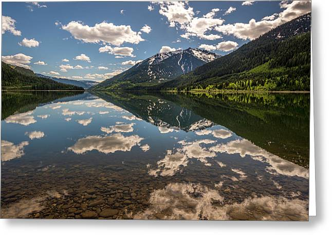 Lake Revelstoke Clouds Greeting Card by Donna Caplinger