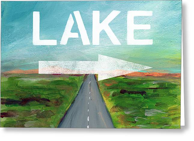 Lake Road- Art By Linda Woods Greeting Card by Linda Woods