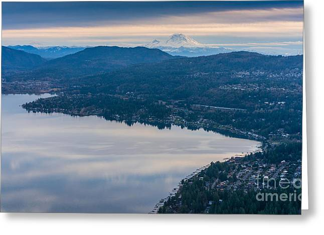 Lake Sammamish Towards Issaquah And Rainier Greeting Card by Mike Reid