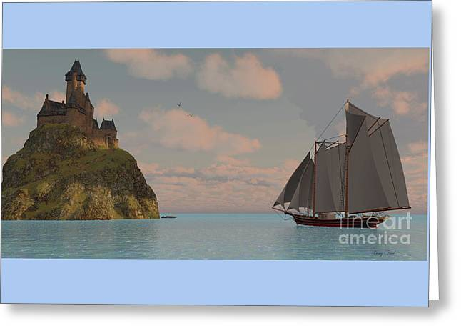 Lake Schooner And Castle Greeting Card