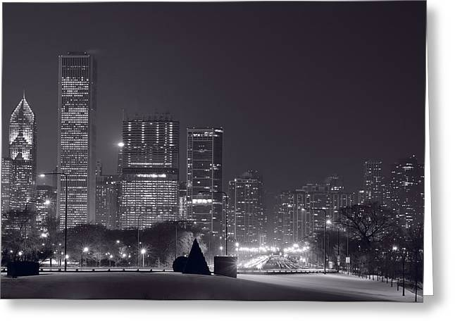 Winter Roads Greeting Cards - Lake Shore Drive Chicago B and W Greeting Card by Steve Gadomski