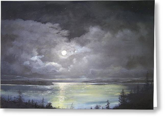 Greeting Card featuring the painting Lake Shore Moonscape  by Ken Ahlering