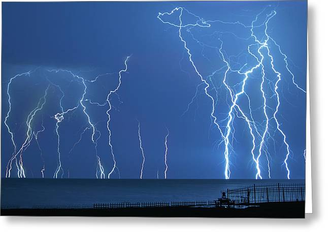 Lake St. Clair Lightning Greeting Card by Cale Best