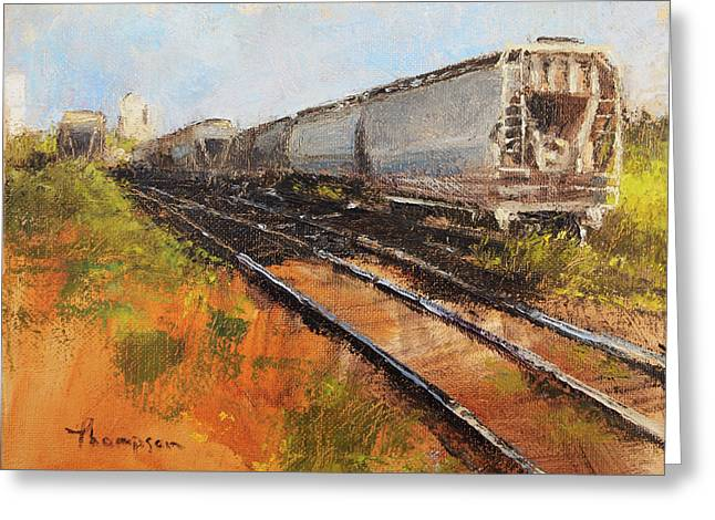 Lake Street Freight Cars Greeting Card by Tracie Thompson