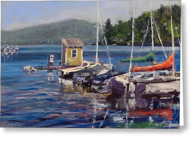 Lake Sunapee Boat Dock Greeting Card by Ken Fiery