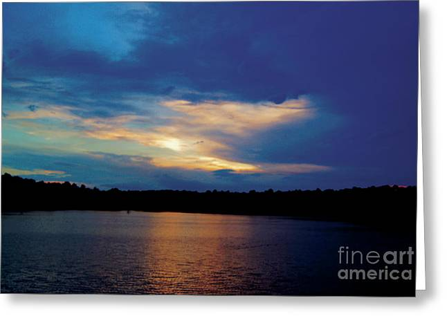Greeting Card featuring the painting Lake Sunset by Debra Crank