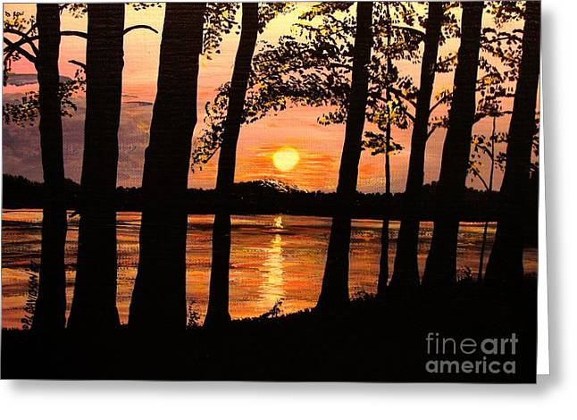 Greeting Card featuring the painting Lake Sunset by Patricia L Davidson