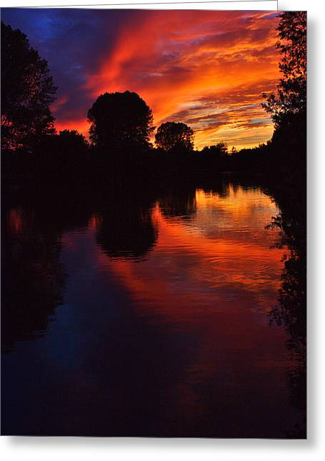 Greeting Card featuring the photograph Lake Sunset Reflections by Jeremy Hayden