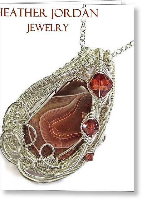 Lake Superior Agate Pendant In Sterling Silver With Swarovski Crystal Lsapss5 Greeting Card by Heather Jordan