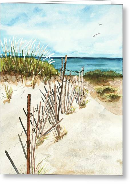 Greeting Card featuring the painting Lake Superior Munising by Sandra Strohschein