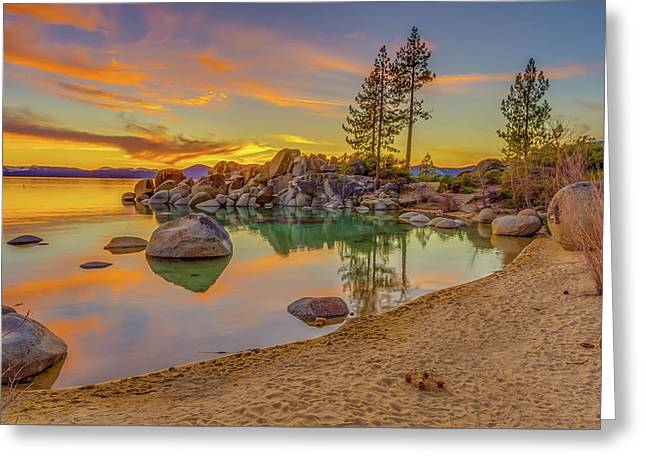 Lake Tahoe Majestic Sunset Greeting Card