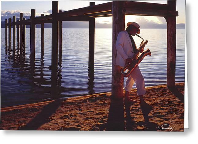 Lake Tahoe Sax Greeting Card by Vance Fox