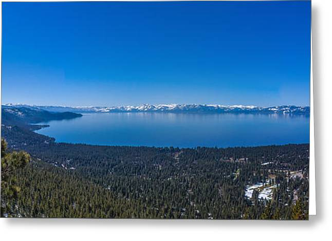 Lake Tahoe Spring Overlook Panoramic Greeting Card by Scott McGuire