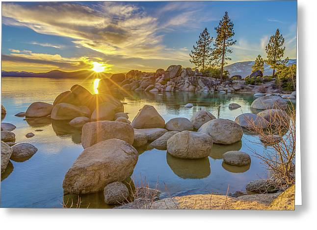Lake Tahoe Spring Starburst Greeting Card