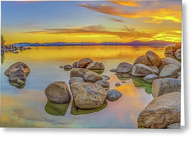 Lake Tahoe Spring Sunset Panoramic Greeting Card