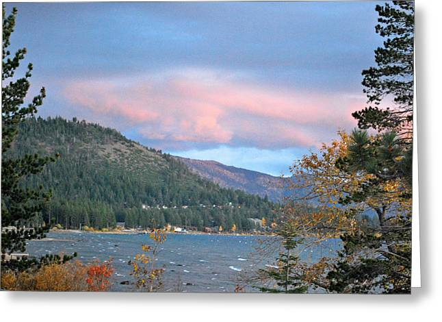 Lake Tahoe Sunset Greeting Card by Linda Sramek