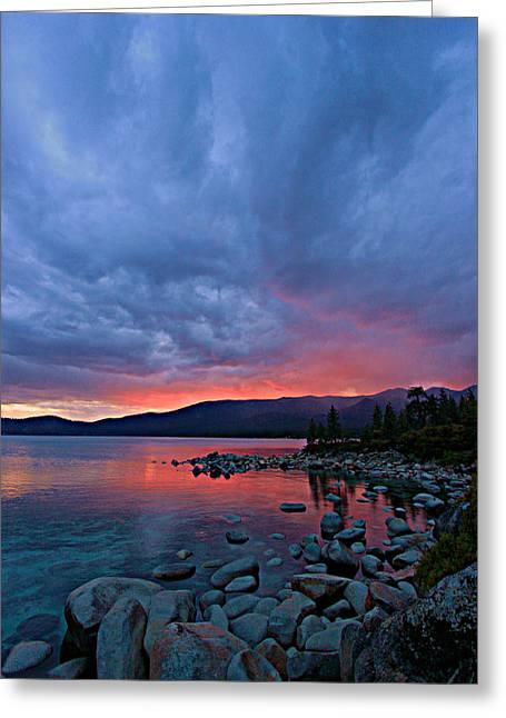 Lake Tahoe Sunset Portrait 2 Greeting Card