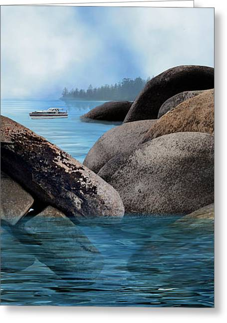 Lake Tahoe With Wooden Boat Greeting Card by Julie Rodriguez Jones
