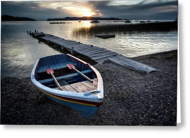 Lake Titicaca Isla De La Luna Sunset Greeting Card by Dirk Ercken