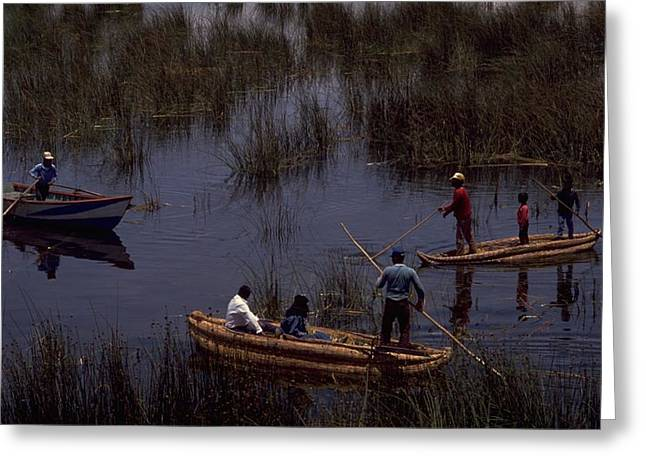 Lake Titicaca Reed Boats Greeting Card