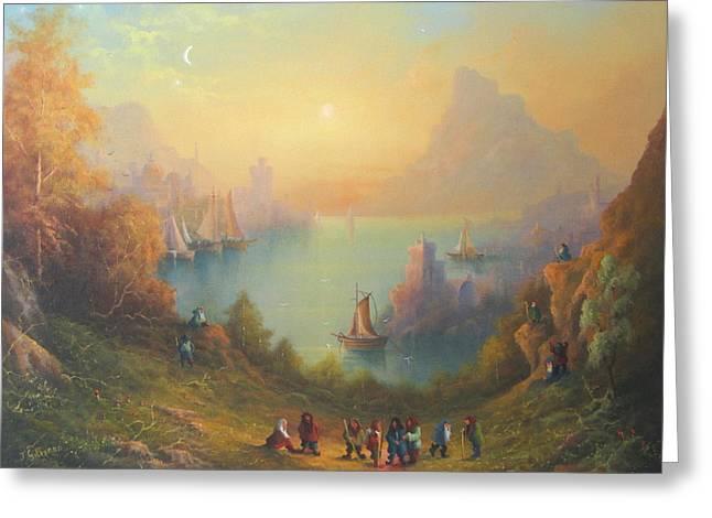 Lake Town Thirteen Dwarves And A Hobbit Named Bilbo Greeting Card by Joe  Gilronan