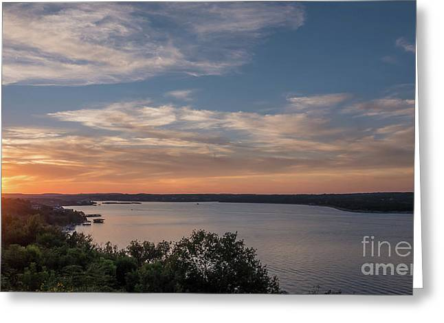 Lake Travis During Sunset With Clouds In The Sky Greeting Card
