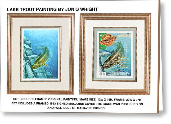 Lake Trout Original Greeting Card by Jon Q Wright