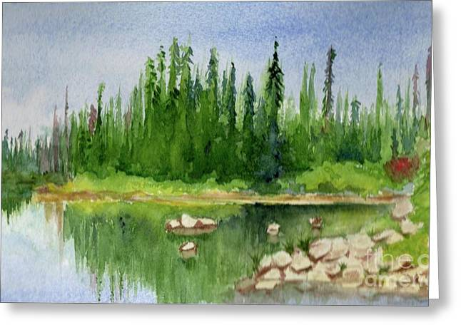 Greeting Card featuring the painting Lake View 1-2 by Yoshiko Mishina