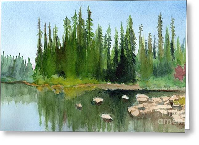 Lake View 1 Greeting Card by Yoshiko Mishina