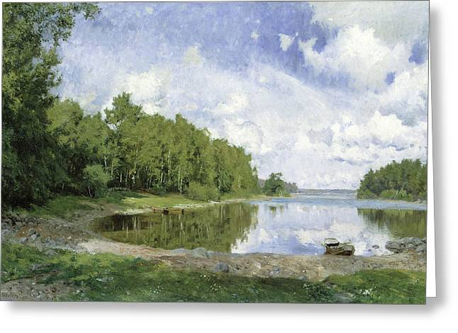 Lake View At Engelsberg, Vastmanland, 1893 Greeting Card