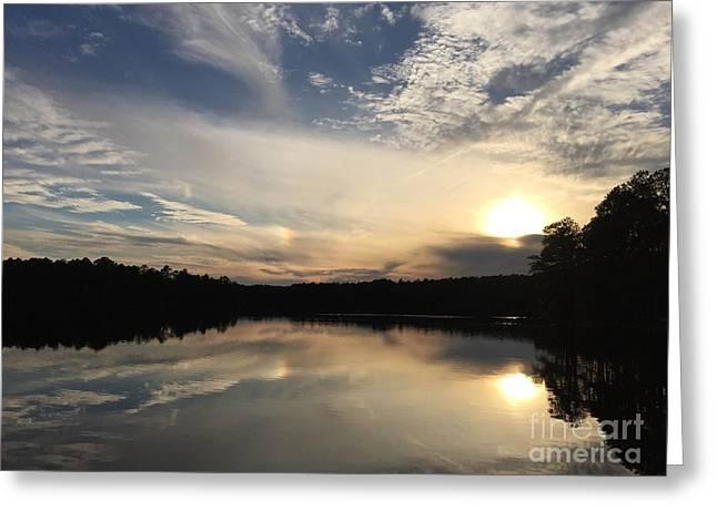 Lake View At Sunset Greeting Card by Becca Lynn Weeks