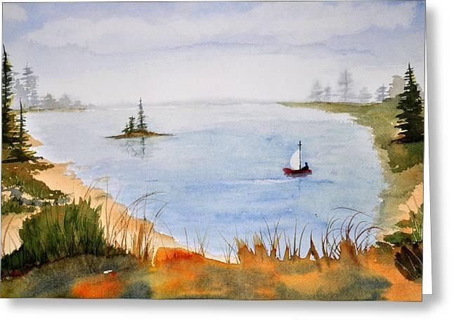 Lake View Greeting Card by Brenda Douglas