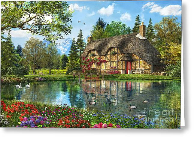 Lake View Cottage Greeting Card by Dominic Davison