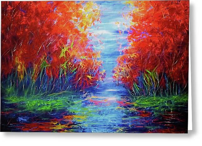 Olena Art Lake View Abstract Artwork Greeting Card