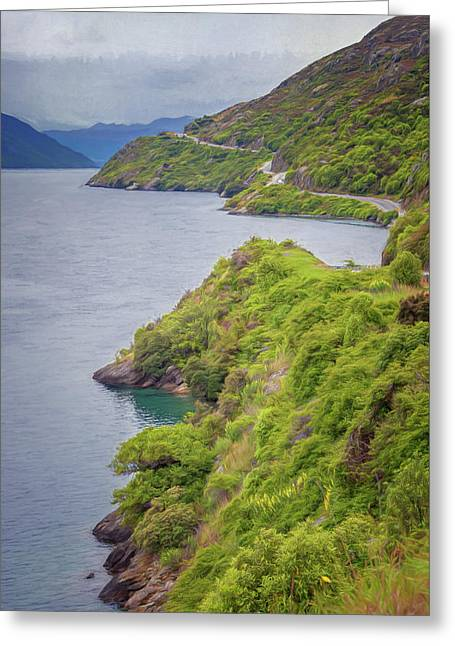 Lake Wakatipu New Zealand Painterly Greeting Card
