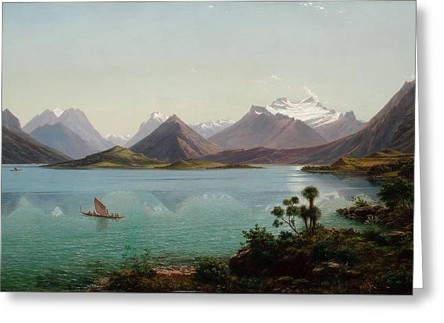 Lake Wakatipu With Mount Earnslaw. Middle Island New Zealand Greeting Card