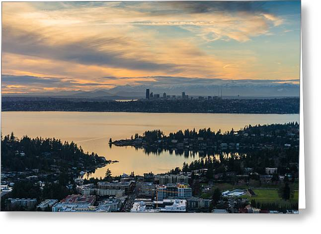 Lake Washington And The Seattle Skyline Aerial Greeting Card by Mike Reid