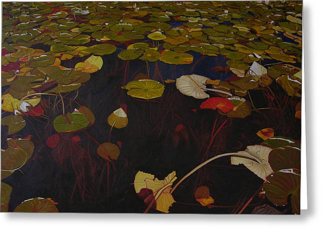 Greeting Card featuring the painting Lake Washington Lilypad 7 by Thu Nguyen