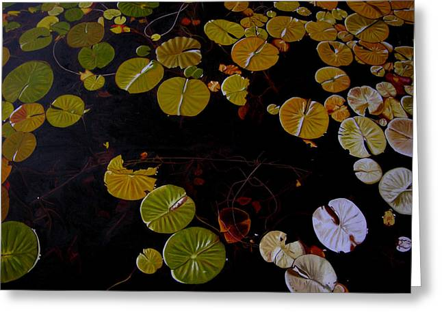 Greeting Card featuring the painting Lake Washington Lilypad 8 by Thu Nguyen