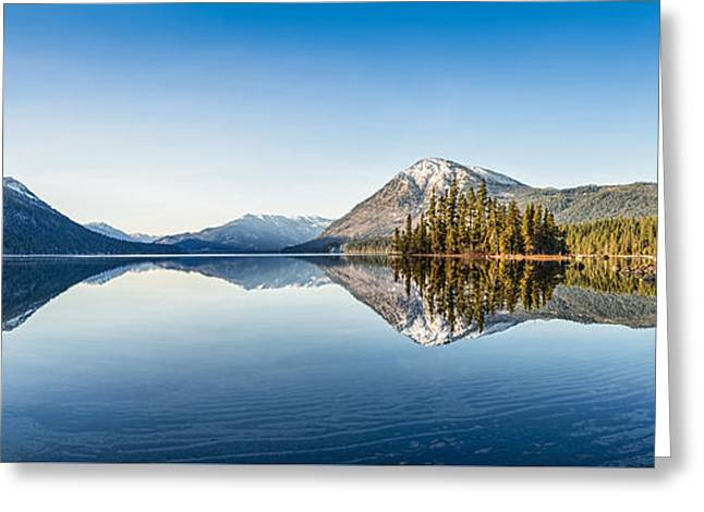 Lake Wenatchee Panorama Greeting Card by Jamie Pham