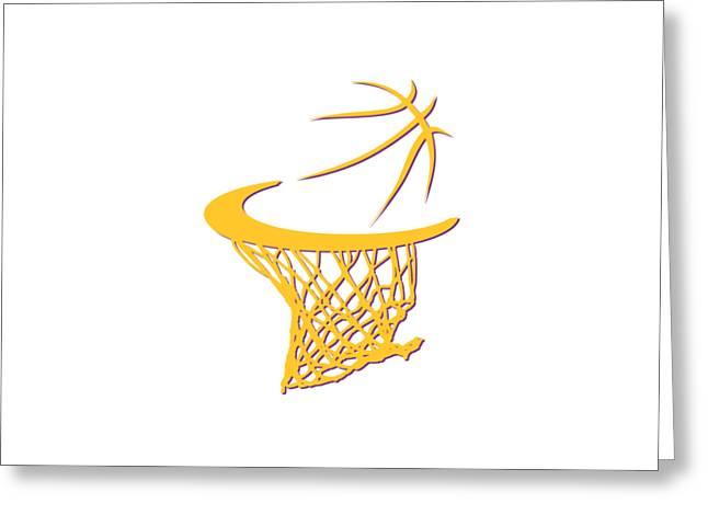 Lakers Basketball Hoop Greeting Card by Joe Hamilton
