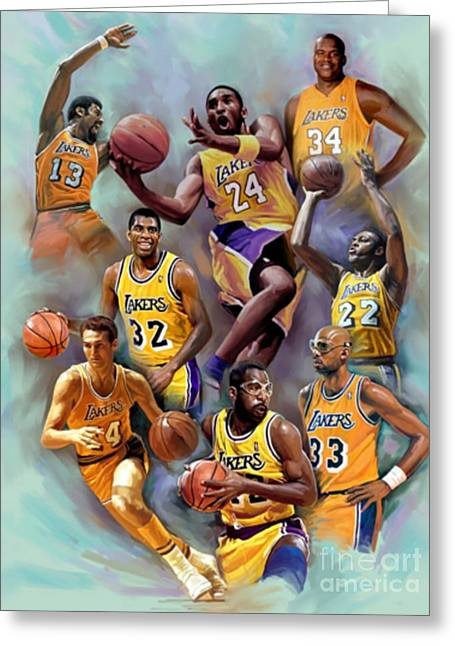 Lakers Legends Greeting Card by Blackwater Studio