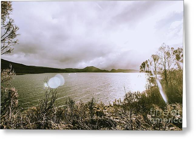 Lakes In Sunset Greeting Card
