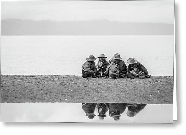 Greeting Card featuring the photograph Lakeshore Discussion, Namtso, 2007 by Hitendra SINKAR