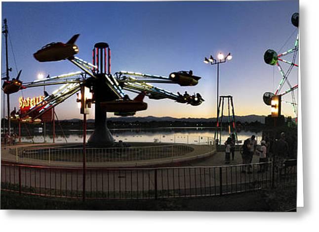 Lakeside Amusement Park At Night Panorama Photo Greeting Card by Jeff Schomay