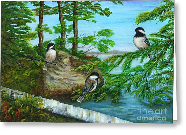 Lakeside Chickadees Greeting Card