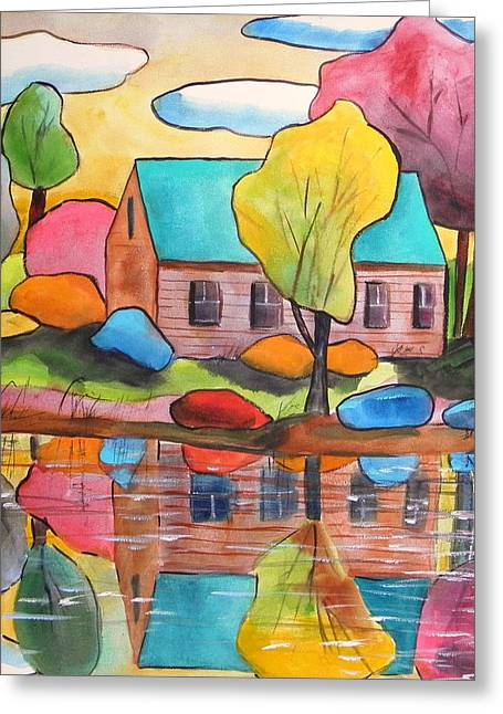 John M. Williams Drawings Greeting Cards - Lakeside Dream House Greeting Card by John  Williams