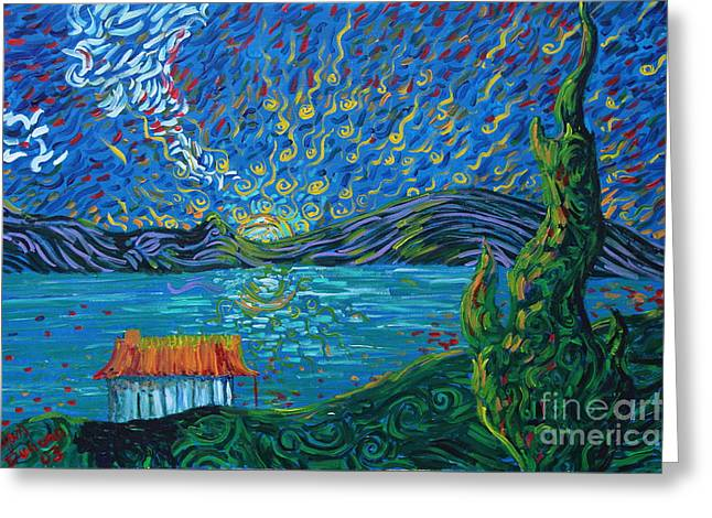 Lakeside House At Sunrise Greeting Card by Stefan Duncan